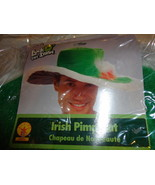 IRISH PIMP HAT LUCK O THE IRISH VELVETY, FUZZY WITH WIRE TO ADJUST ADULT... - $8.48