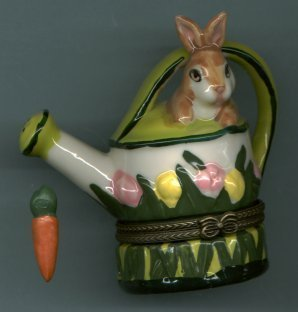 BUNNY RABBIT ON WATERING CAN HINGED BOX