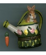 BUNNY RABBIT ON WATERING CAN HINGED BOX - $11.00