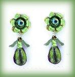 Emerald Green Necklace & Earring Set Floral w/Butterflies