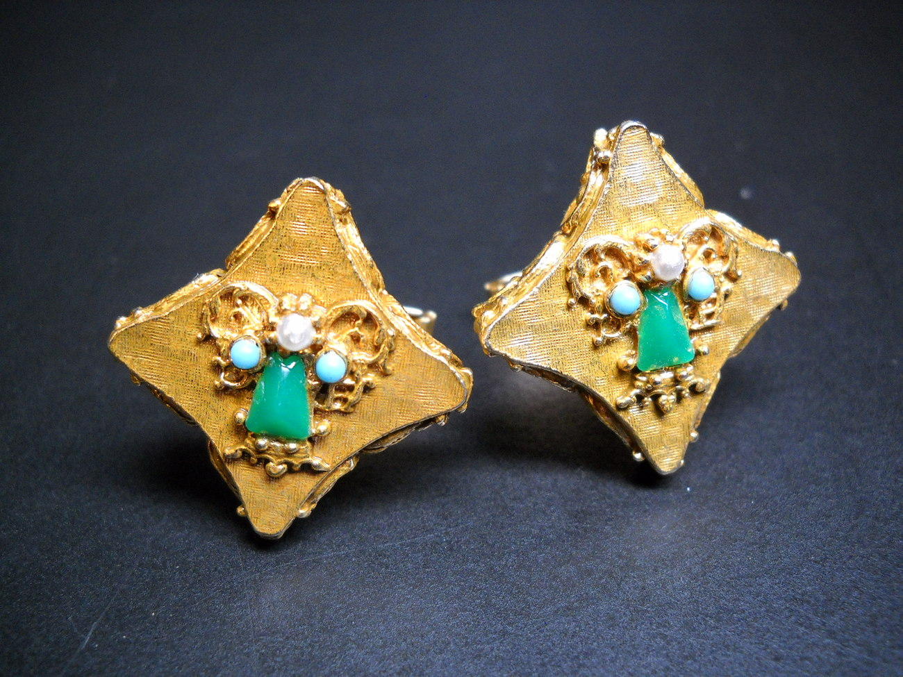 Cuff Links Little Angels Gold Colored with Pearly Green Blue White Stones No Box