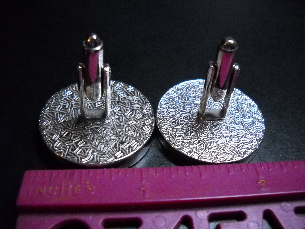 Cuff Links Silver and Black Colored Metal with Rustic Scene No Presentation Box