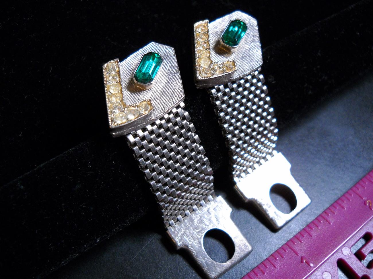 Cuff links silver mesh wrap green   yellow check 02