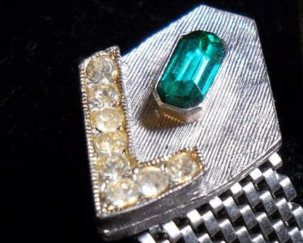 Cuff Links Mesh Wrap Silver Color Green Pale Yellow Stones No Presentation Box
