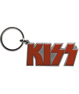 "KISS LOGO 2"" METAL KEYCHAIN SILVER AND RED NEW - $5.74"