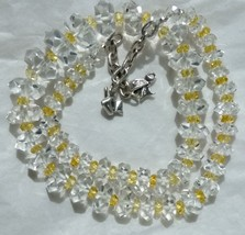 Sterling Silver Natural Citrine w/ Graduated Art Deco Rock Crystal Necklace - $135.00