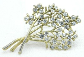 Vintage Gold Tone Clear Rhinestone Large Flower Bouquet Pin Brooch - $24.74
