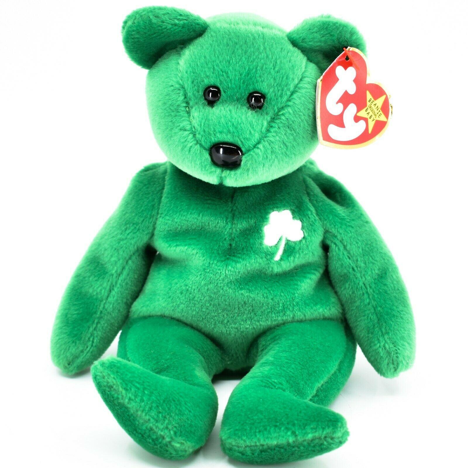 1997 Ty Beanie Baby Original Erin Lucky Shamrock Teddy Bear Beanbag Plush Toy