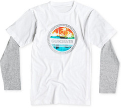 Quiksilver Little Boys' Filled In Layered-Look T-Shirt, White, Size L, MSRP $28 - $15.83
