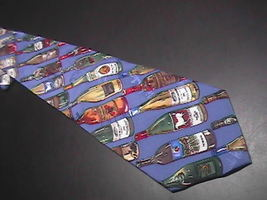 Nicole Miller Neck Tie Diagonal Stripes Wine Bottles 1994 Blue Backgroun... - $10.99