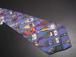 Nicole Miller Neck Tie Diagonal Stripes Wine Bottles 1994 Blue Background Silk - $10.99