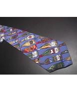 Nicole Miller Neck Tie Diagonal Stripes Wine Bottles 1994 Blue Backgroun... - $10.99