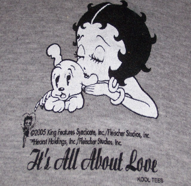 Betty Boop It's All About Love Kool Dog Tee SZ XS NEW