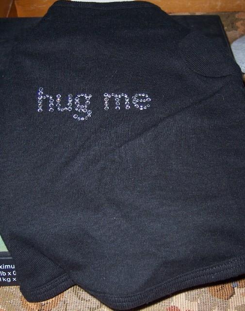 Dog Kool Tee Beaded Hug Me T Shirt SZ Small NEW Black