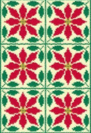Latch Hook Rug Pattern Chart: Poinsettia Quilt- EMAIL2u