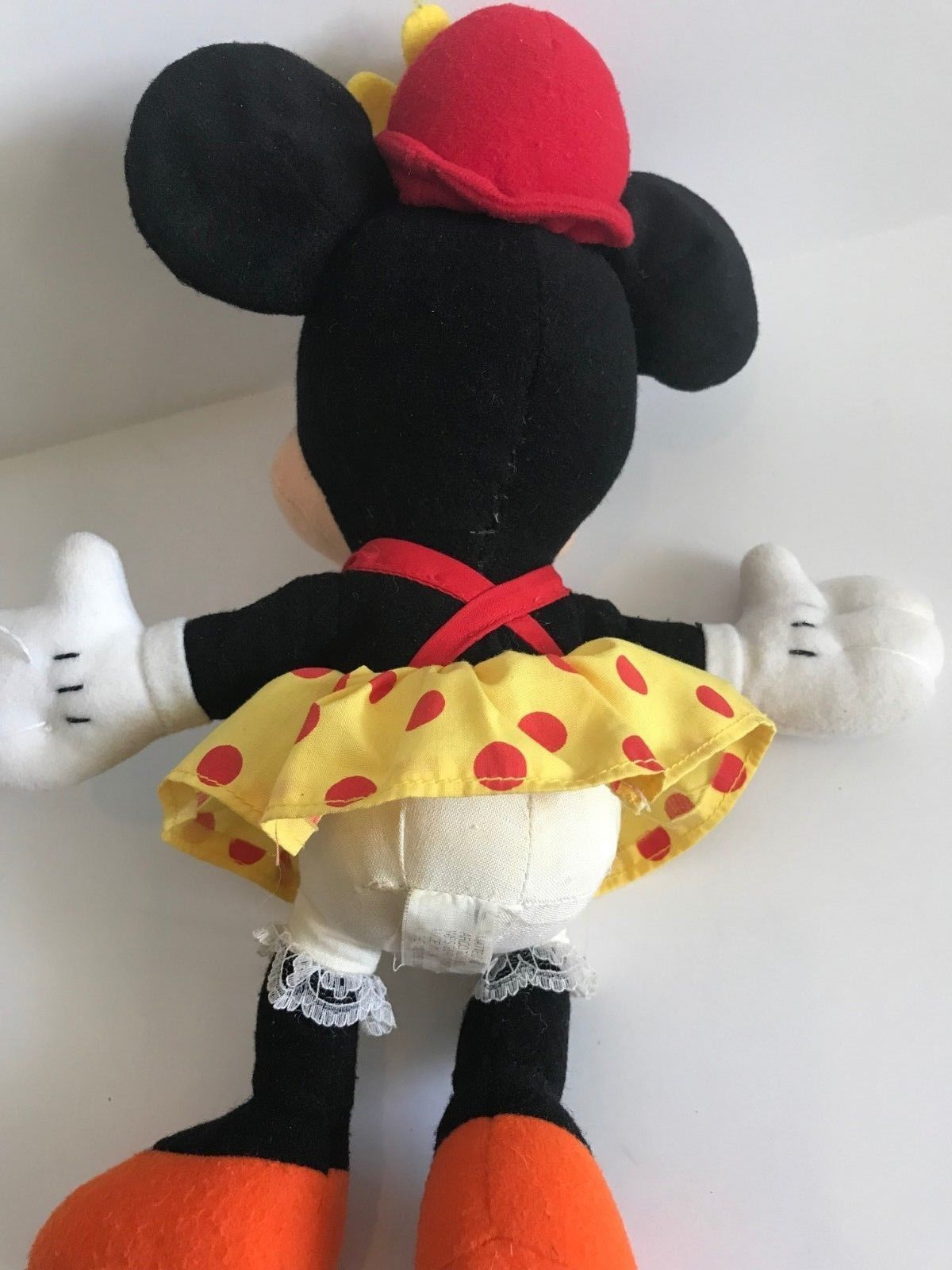 Mattel Arcotoys Minnie Mouse Yellow Red Polka Dot Flower Hat Plush Stuffed Doll image 8