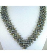 Hand Strung Bead Necklace of Labradorite Sphere... - $202.56