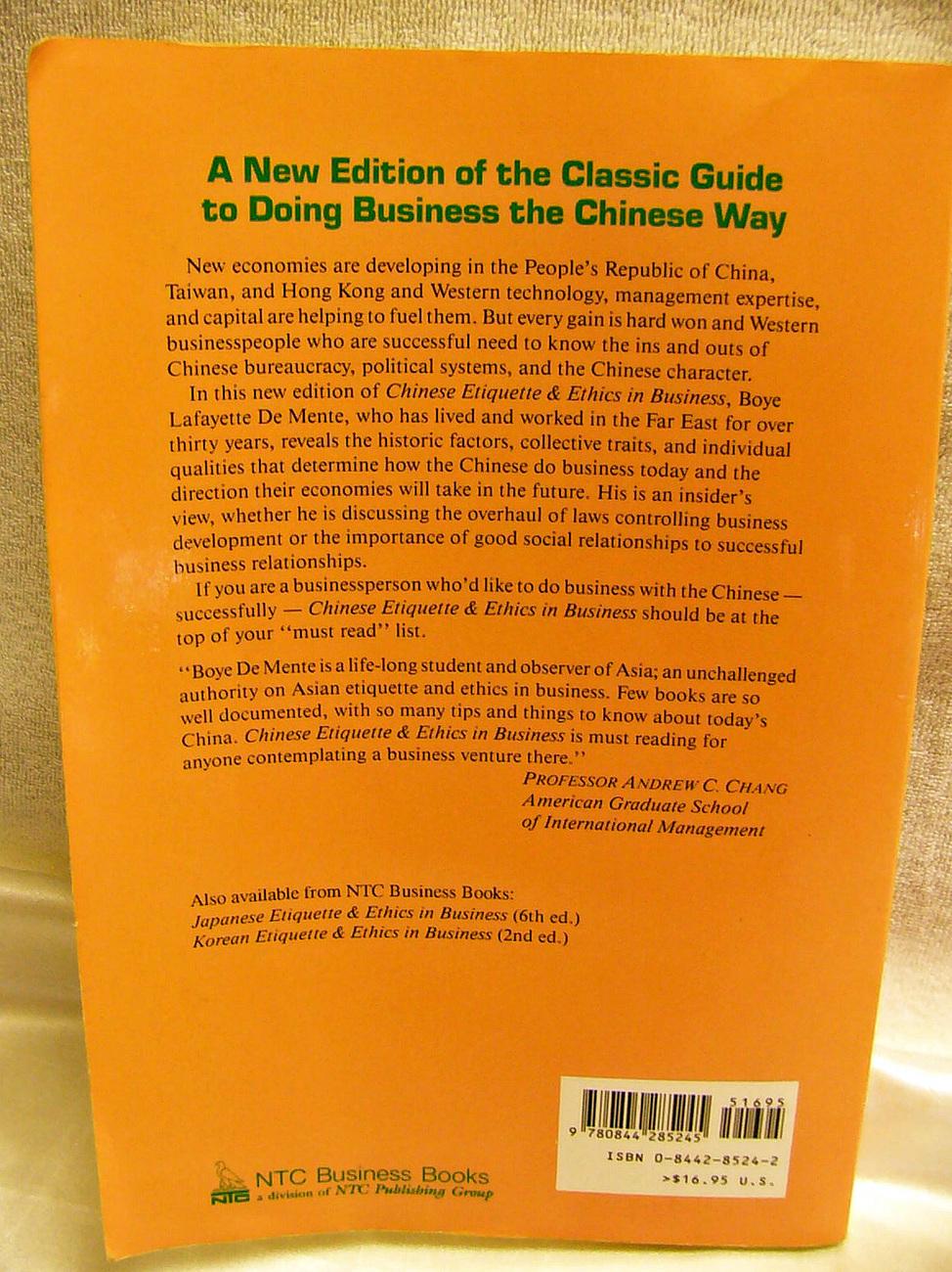 Chinese Etiquette & Ethics In Business De Mente