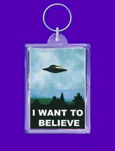 i want to believe keyring double sided  handmade in uk from uk made parts keyrin