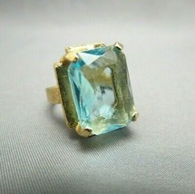 Vintage Ring Blue Stone Gold Plated Emerald Cut Pastel Size 6 Textured B... - $19.79