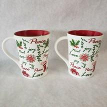 2 Starbucks Holiday 2007 Coffee Mugs Red Green Christmas Noel Peace Love... - $46.52