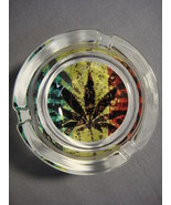 "MARIJUANA HEMP LEAF RASTA COLORS 3"" GLASS ASHTRAY NEW - $5.74"
