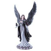 Garden Fairy Dark Angel With Raven Figurine Handpainted Resin - $64.15