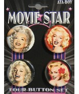 MARILYN MONROE MOVIE STAR BUTTONS / PIN SET OF 4 NEW - $5.74