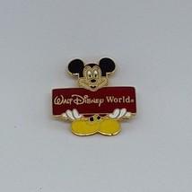 Disney Pin Trading -- MICKEY MOUSE holding Walt Disney World banner - enamel pin - $4.71