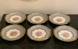 Aynsley 7913 Gray Rim Gold Trim & Pink Rose 6 Cream Soup Saucers by G. Bentley - $177.21