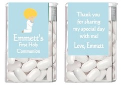 Religious First Communion ANY COLOR Mint Mints Party Favors Labels Perso... - ₨268.46 INR+