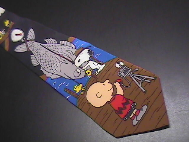 Peanuts Silk Neck Tie World's Greatest Fisherman! Snoopy Catch of Day Woodstock