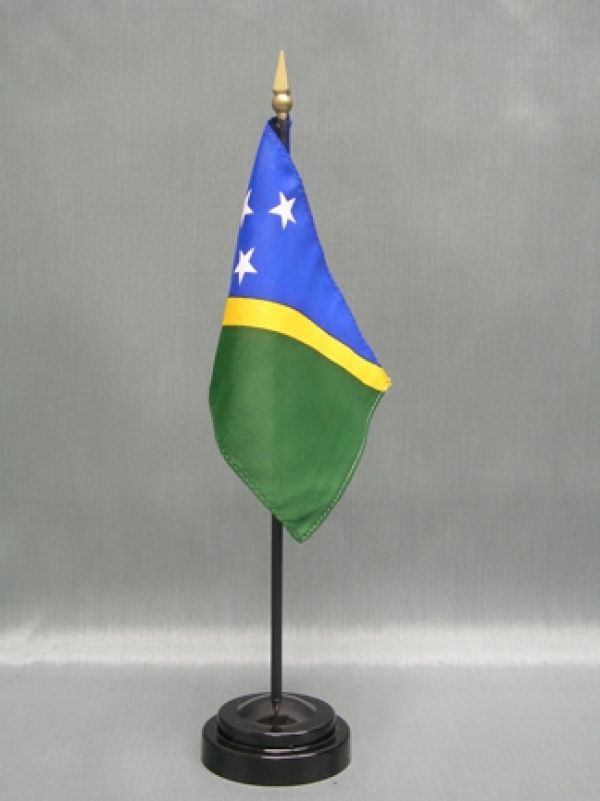 "SOLOMON ISLANDS 4X6"" TABLE TOP FLAG W/ BASE NEW DESK TOP HANDHELD STICK FLAG"