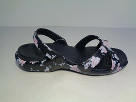 Crocs Size 8 MELEEN PRINTED CROSSBAND Black Floral Sandals New Womens Shoes - $64.35