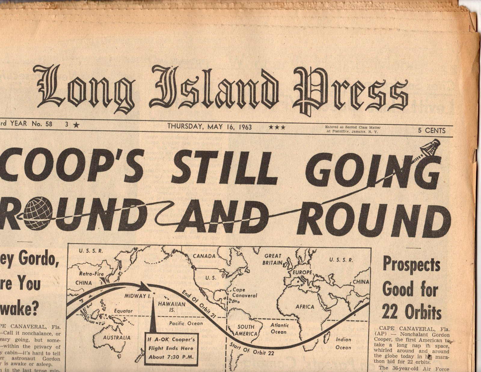 Primary image for Long Island Press Newspaper,(1963) Thursday, May 16 1963
