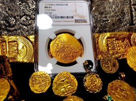 Mexico 1715 Fleet Shipwreck 8 Escudos Ngc 61 Pirate Gold Treasure Cob Coins - $38,500.00