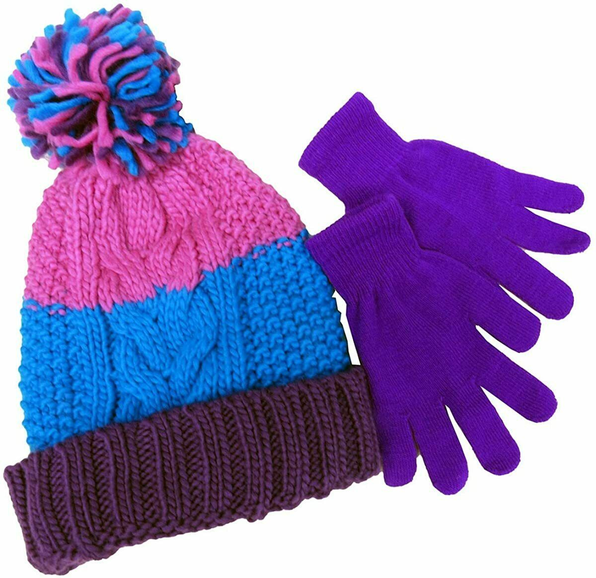 Primary image for Designer MACY'S Berkshire Girls' 2-Pc Knitted Hat Scarf Gloves Set Pink Purple