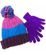 Designer MACY'S Berkshire Girls' 2-Pc Knitted Hat Scarf Gloves Set Pink ... - £6.96 GBP