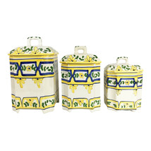 Set of 3 Casafina European Kitchen Containers Hand-painted in Portugal w... - $49.49