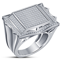 White Gold Plated Solid 925 Silver Round Cut Sim Diamond Wedding Men's B... - $155.98