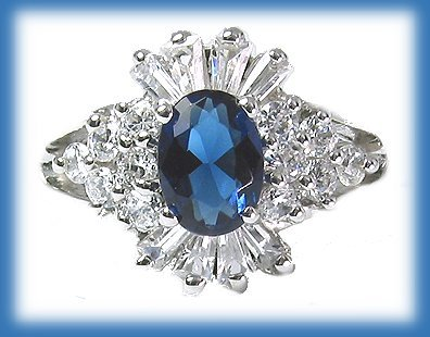 Ring sapphire platinum silver
