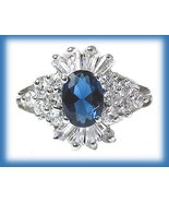 Created Sapphire Engagement Ring, 1 carat, Size 6 Sterling Silver Platinum - $49.99