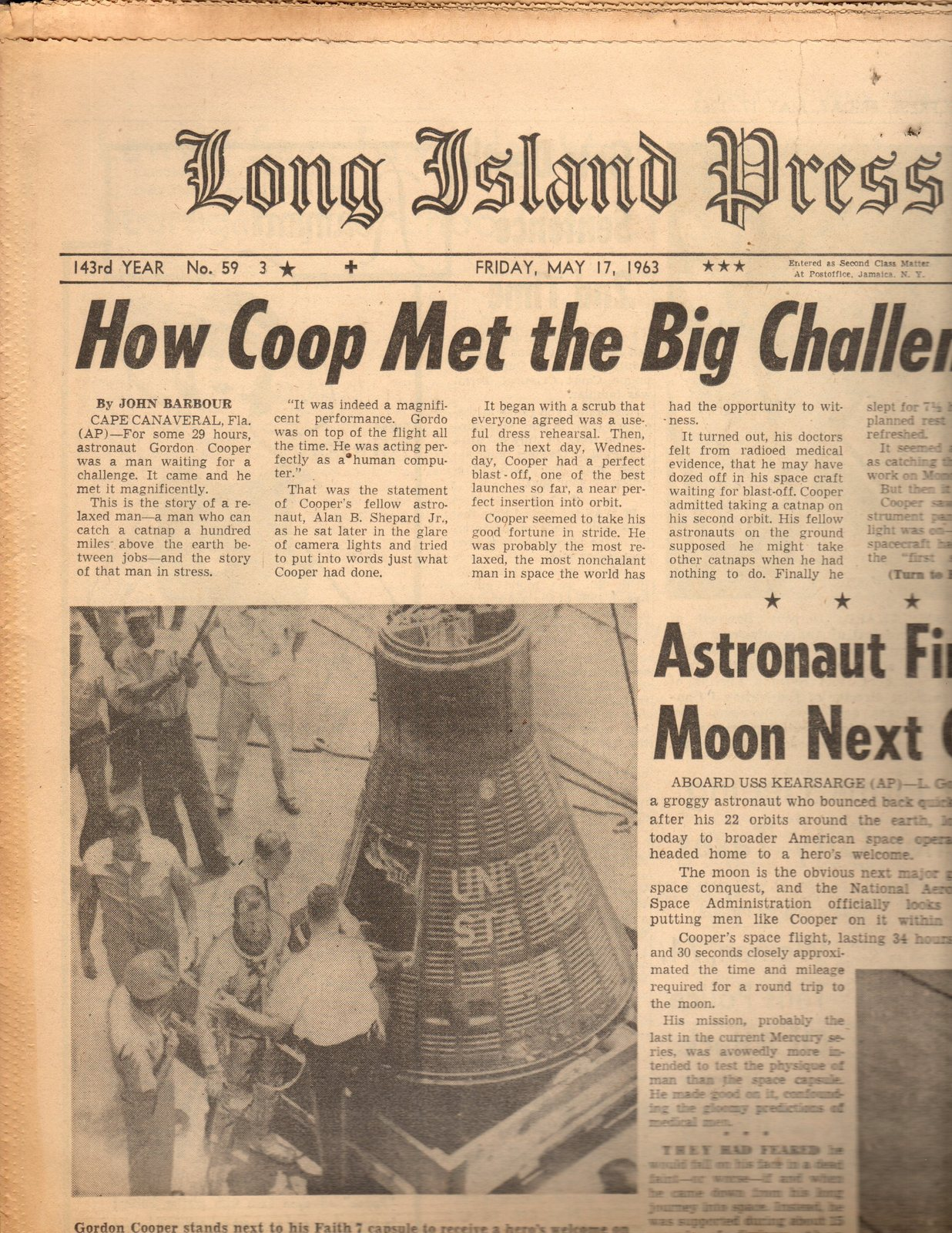 Primary image for Long Island Press Newspaper  Friday, 5/17/63