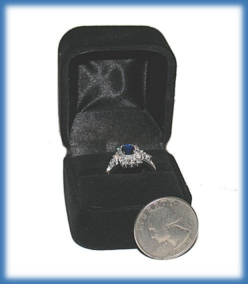 Created Sapphire Engagement Ring, 1 carat, Size 6 Sterling Silver Platinum