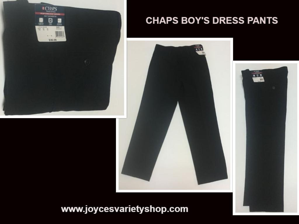 Chaps boys black pants web collage