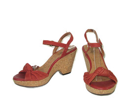 Indigo Sandals Womens Size 7.5 Brown Leather Ankle Strap Heeled - $14.83