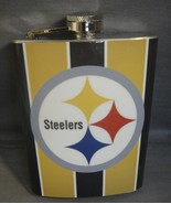 PITTSBURGH STEELERS ABSTRACT LOGO 8oz STAINLESS STEEL FLASK NEW NFL - $11.02
