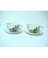 Vintage Oriental Geisha Kutani Lithopane cups and Saucers se - $30.00