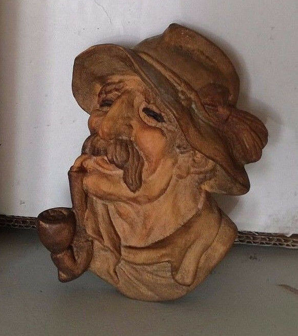 Antique Tyrol Austria Austrian black forest wood carved mask Nikolaus Krampus