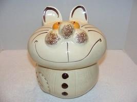 """VINTAGE 11.5"""" BEIGE SMILING CAT CERAMIC COOKIE JAR GUC - $59.99"""